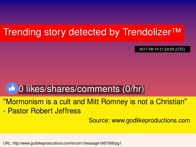 &quot;Mormonism is a cult and Mitt Romney is not a Christian&quot; - Pastor #RobertJeffress  http:// mittromney.trendolizer.com/2017/09/mormon ism-is-a-cult-and-mitt-romney-is-not-a-christian---pastor-robert-jeffress.html &nbsp; … <br>http://pic.twitter.com/n1CCncs3hy
