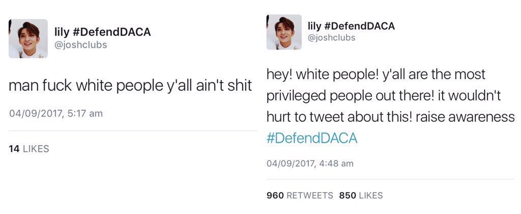 """""""White people suck! I hate white people!""""  > DACA gets repealed  """"Omg white people pls help."""" https://t.co/hveAlc8D3d"""