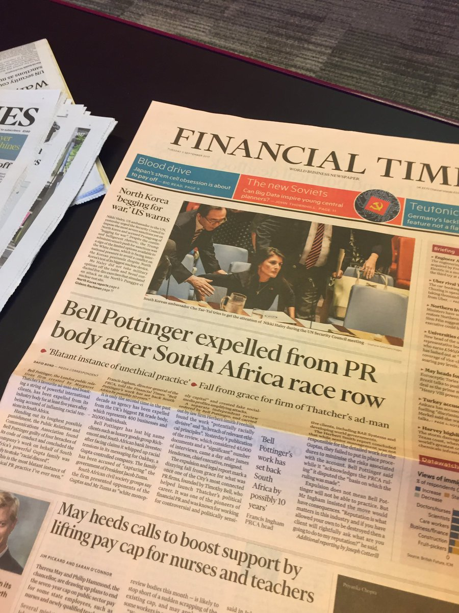 PRCA outcome on Bell Pottinger on front page of @FT this morning https://t.co/dEFMYdAs2c