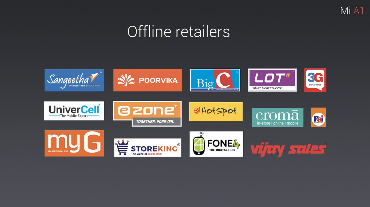 MI A1: Offline retailers