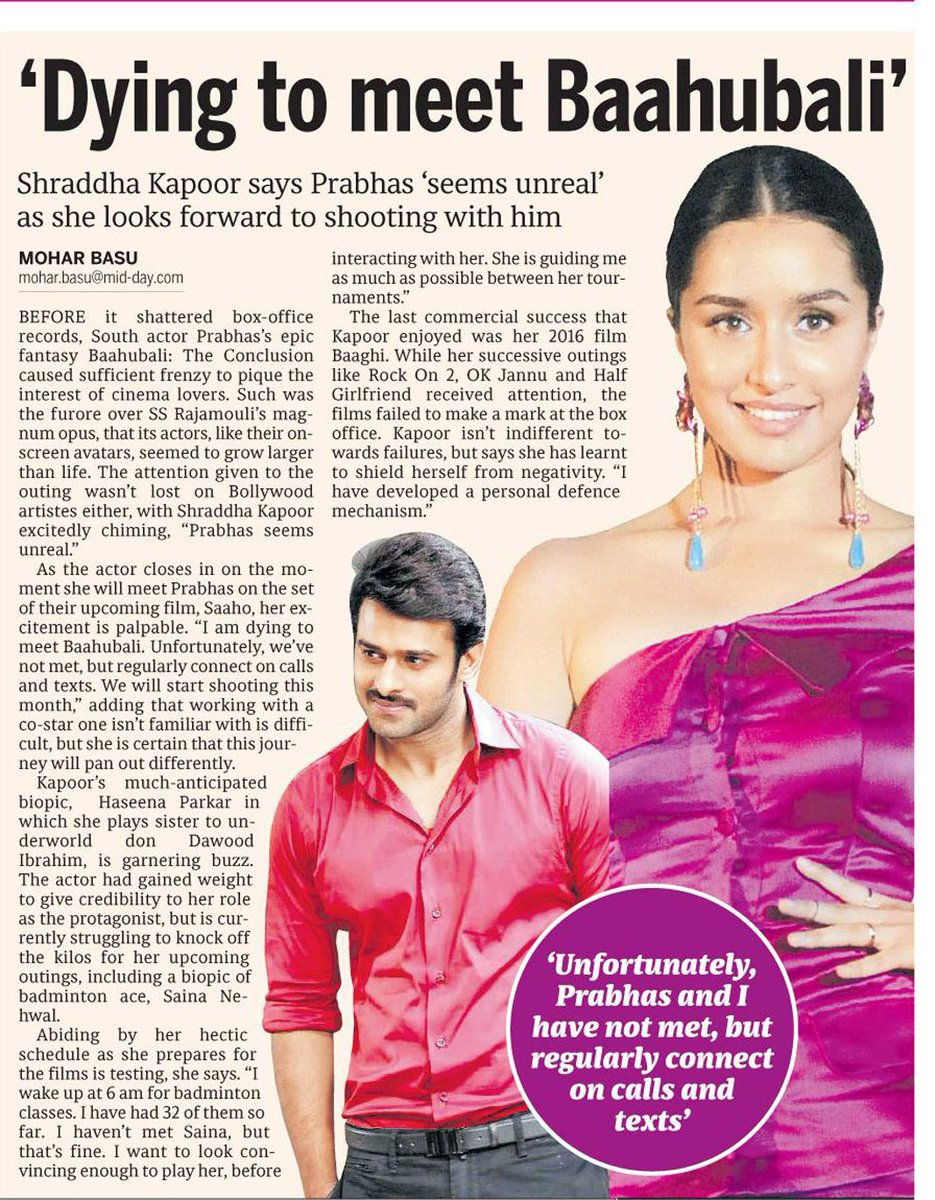 [SCAN]: @ShraddhaKapoor Says Prabhas 'seems unreal' as she looks forward to shooting with him!
