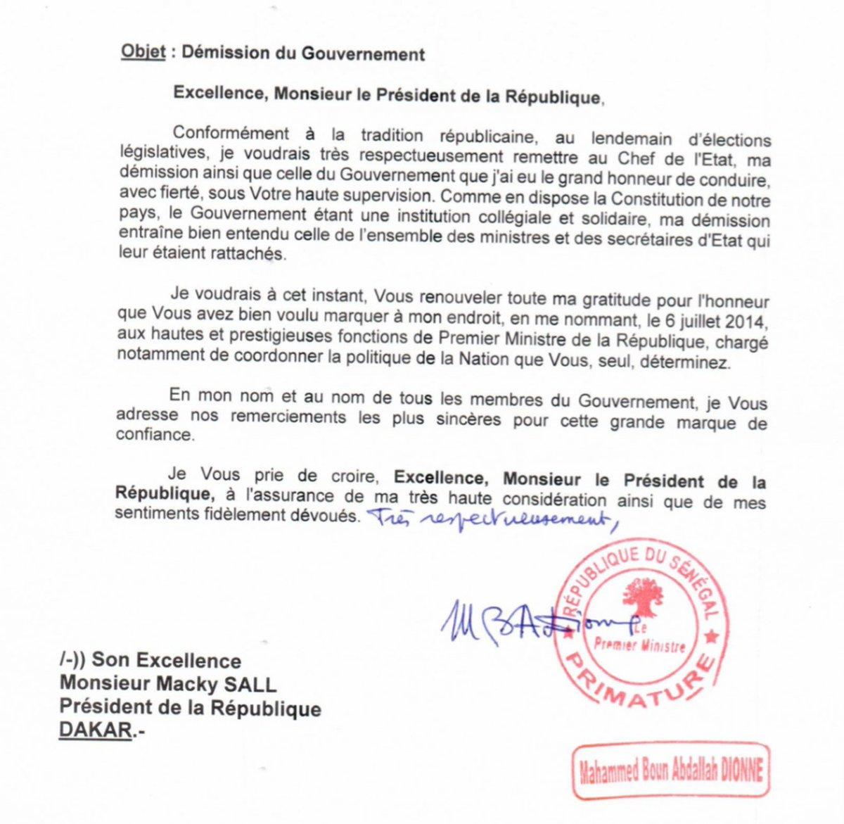 """Lettre De Demission: Présidence Sénégal On Twitter: """"Le Premier Ministre"""