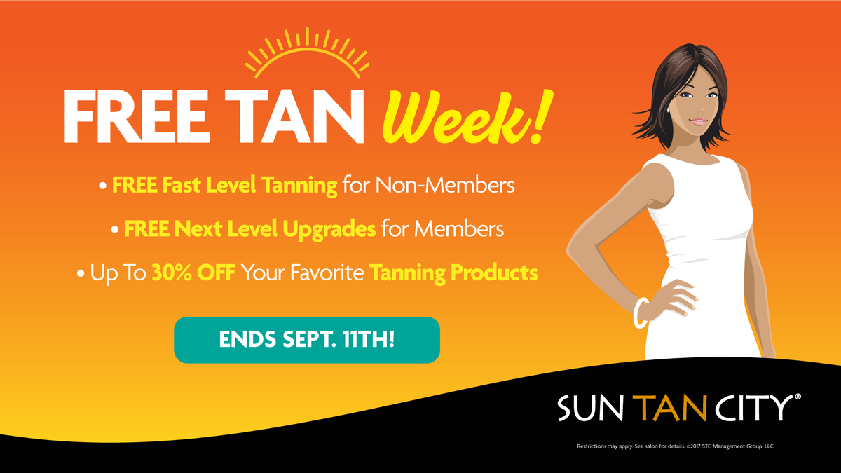 Sun Tan City On Twitter It S Free Tan Week Free Fast Tanning For