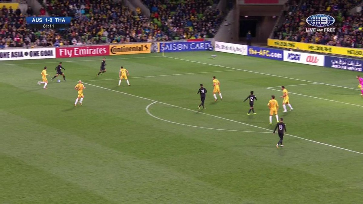 GOAL Thailand! Heart break for the @Socceroos with a stunning goal from Thailand. #9WWOS #AUSvTHA https://t.co/U34BADnec9