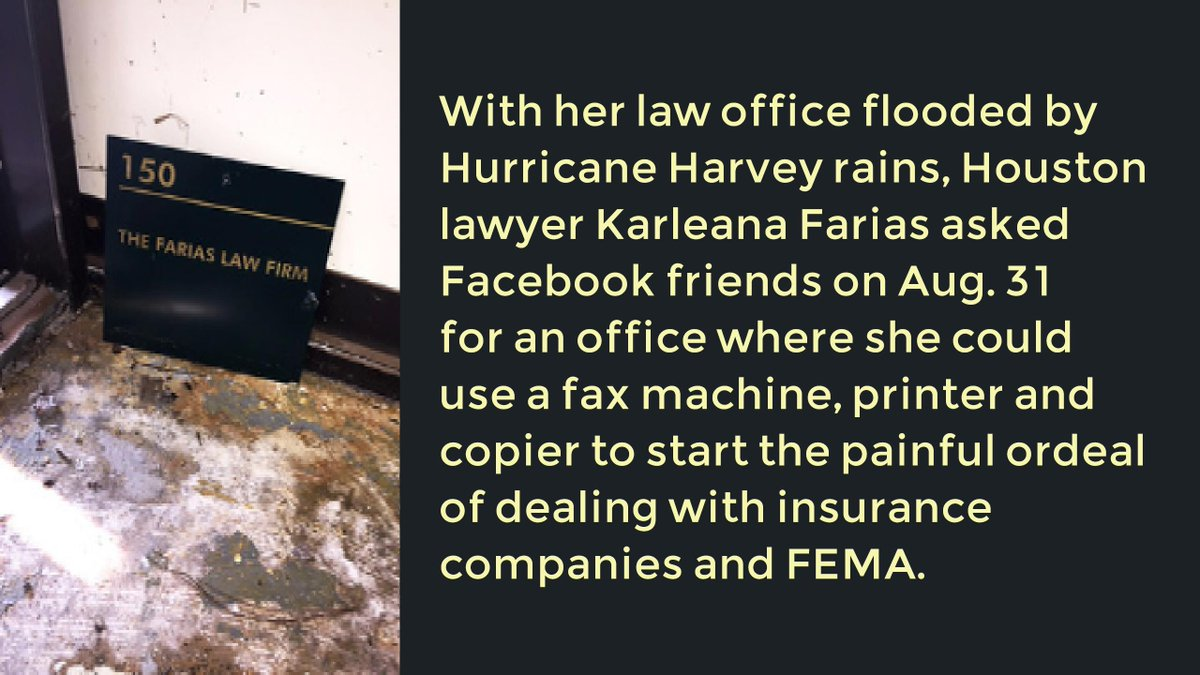 As Flooded Files Dry and Servers Reboot, Lawyers Share Other Firms&#39; Space  http:// ow.ly/66ZE30eUD4m  &nbsp;   @statebaroftexas #txlegal #HurricaneHarvey<br>http://pic.twitter.com/XW02lp2Tvk