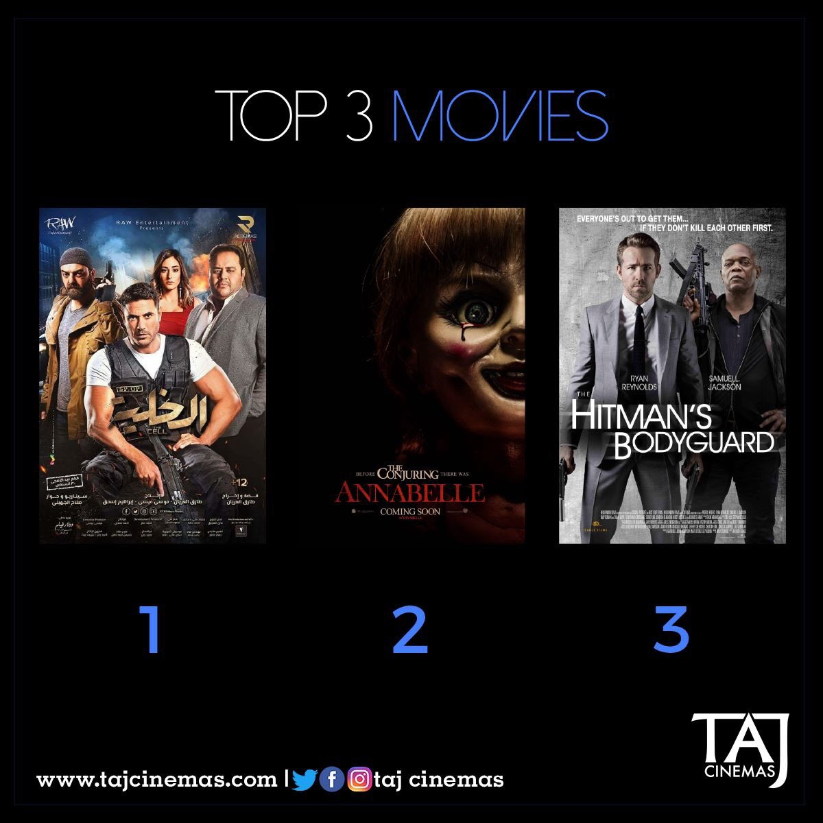 Our TOP 3 at the box office. Don't wait for too long, go watch the movie you want before it's gone! #TAJCinemas #Movies #Jo #Amman https://t.co/gXcY898FEn