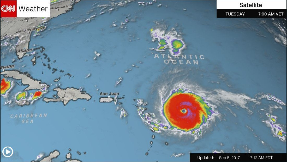 Hurricane Irma strengthens to Category 5, carrying maximum winds of 175 mph https://t.co/q90Ng0pim2 https://t.co/S7DvFTVFcu