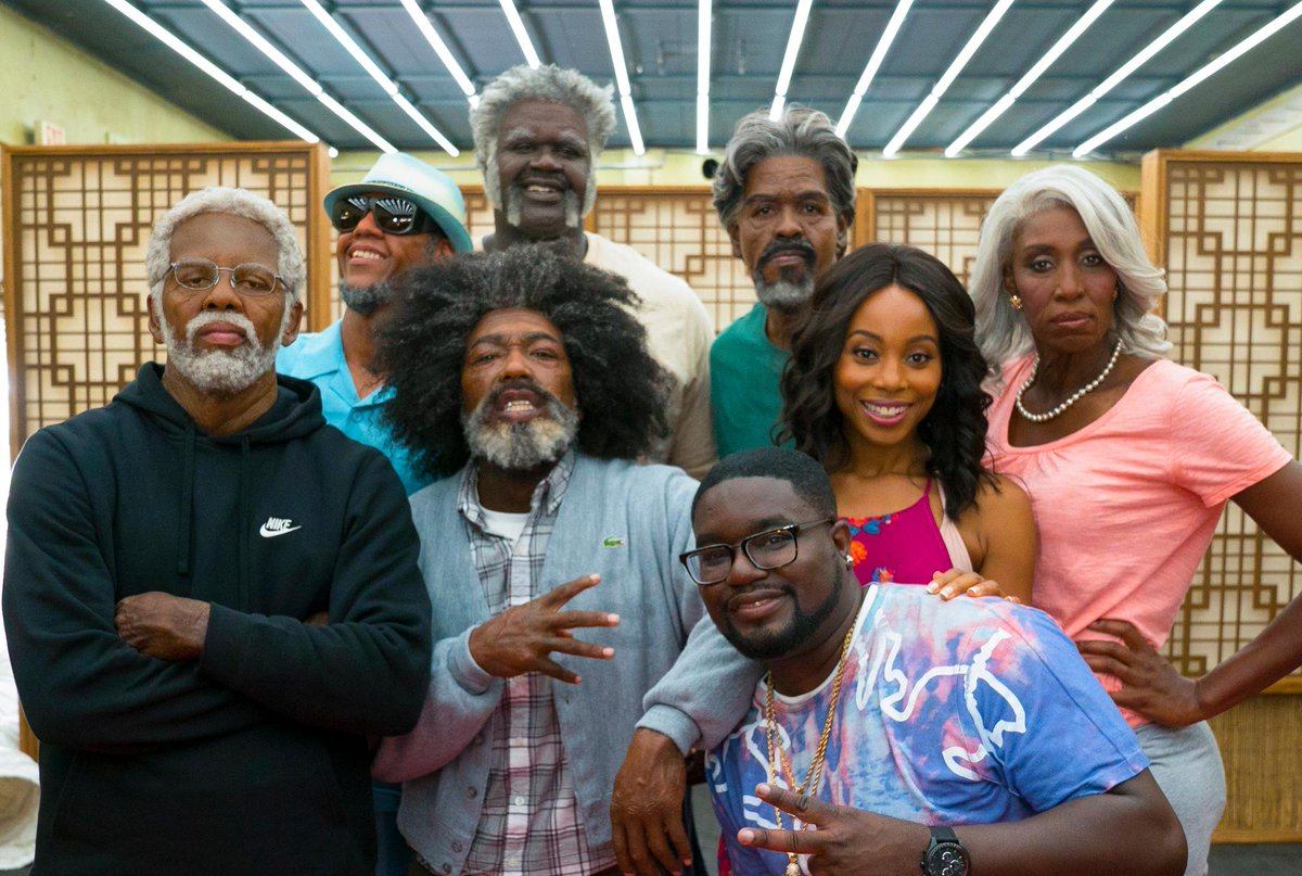 Exclusive first look: Kyrie Irving and the cast of the upcoming @UncleDrewFilm.  Can you name all the NBA stars?