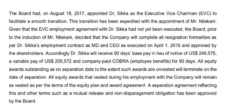 Harshada Sawant On Twitter Vishal Sikka To Receive 90days Base Pay
