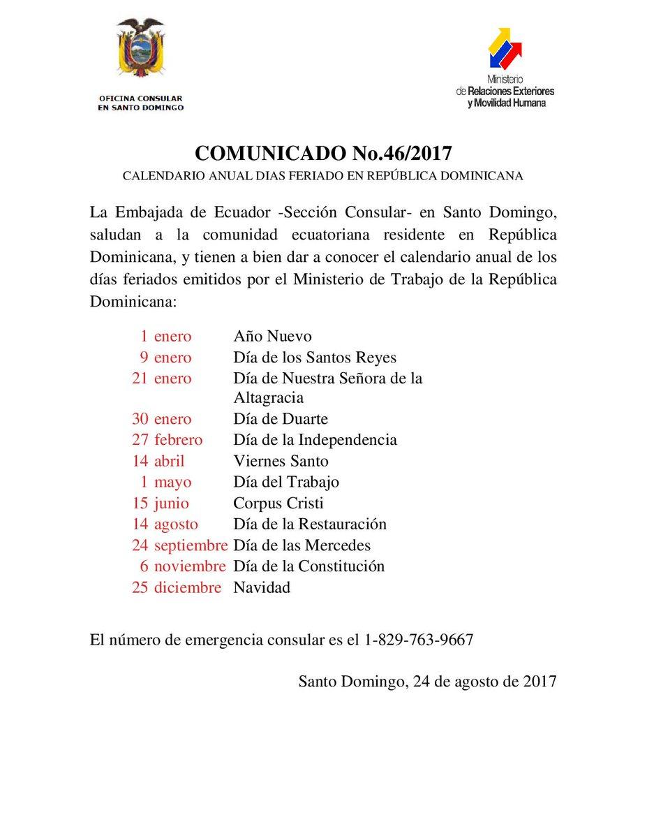"""Embajada EC DOM on Twitter: """"Comunicado No.46/2017 ..."""