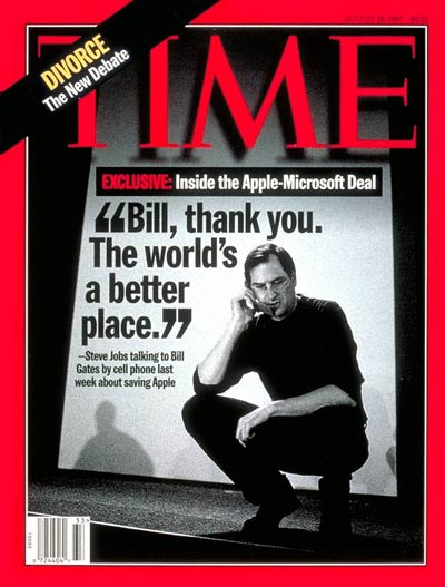 """20 years ago this week, Steve Jobs was on the cover of @TIME, thanking @BillGates for """"saving Apple."""" https://t.co/AhUnLnOZ8t"""