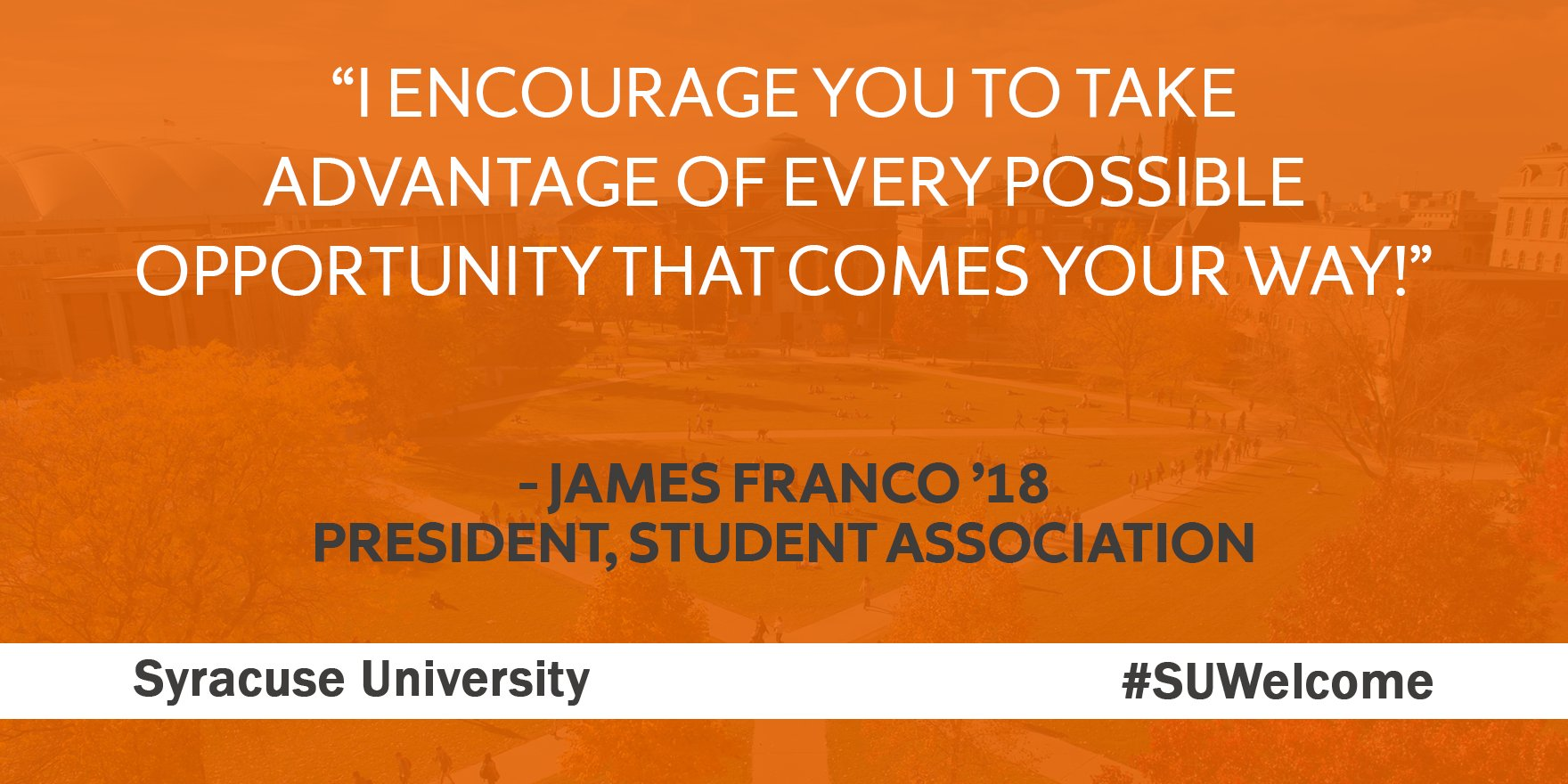 """""""You are now part of an amazing group of SU students, faculty, staff & alumni!"""" - James Franco '18, President of @SAatSU #SUWelcome https://t.co/NmDfyjL1N8"""