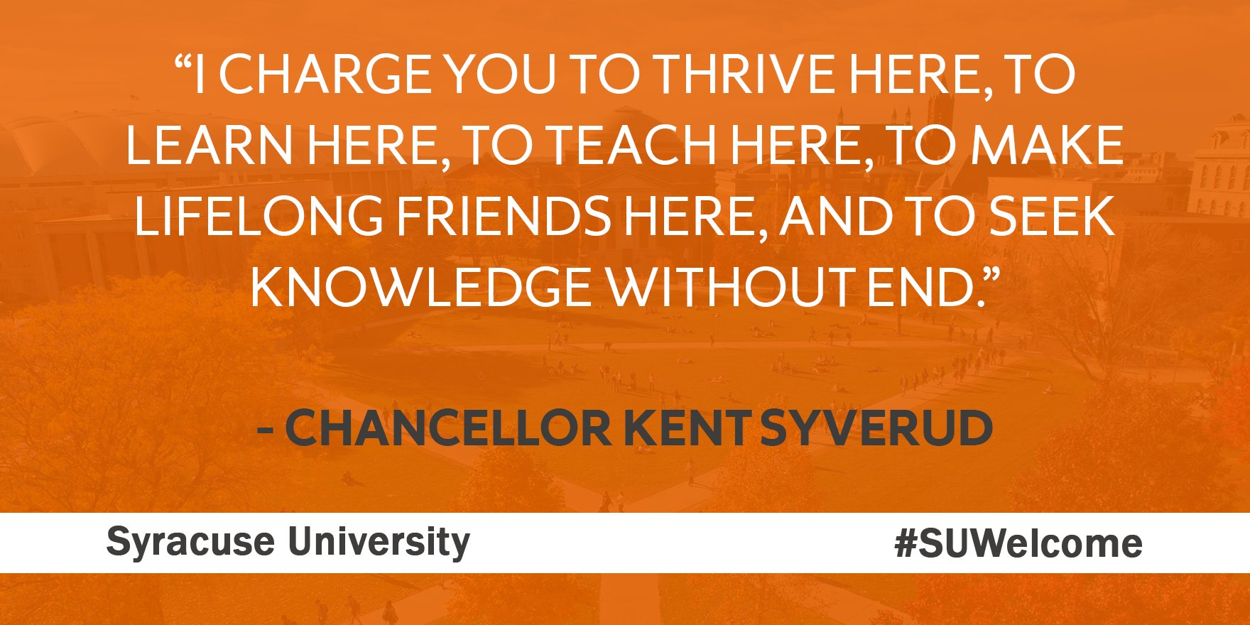 """""""I charge you to embrace your part in a great University."""" - Chancellor Syverud #SUWelcome https://t.co/6UAEXOqgp4"""