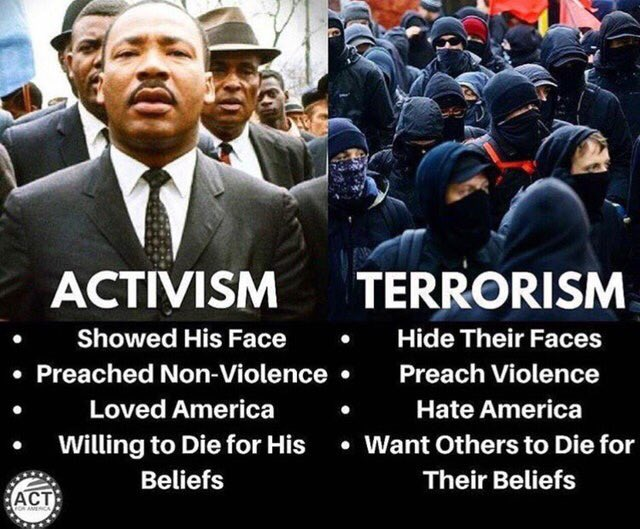 MLK compared to Antifa; love non-violence and open face, compared to hate violence and masks