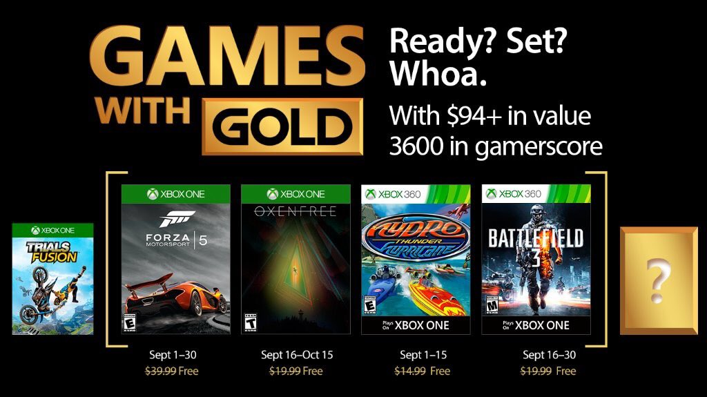 Xbox Live Games with Gold September 2017