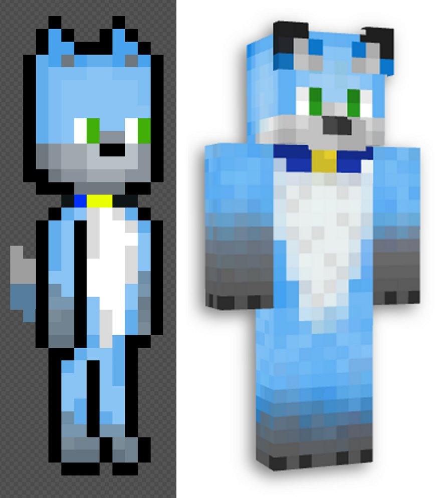 "Loji on Twitter: ""Heres a blue fox for @KoockiesMiam ! #Minecraft"