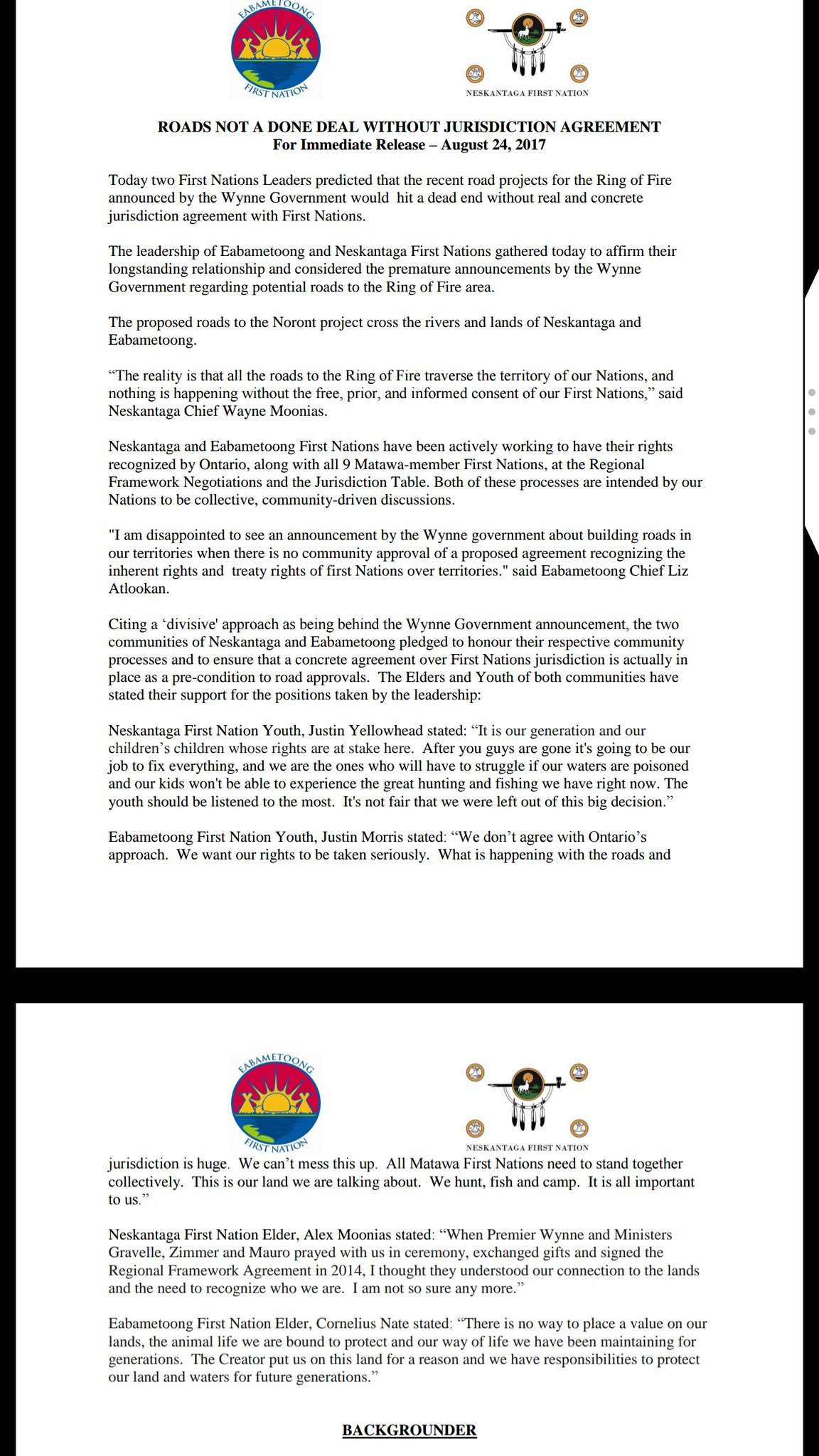 Dennis Ward On Twitter Two First Nations Leaders Predict Ring Of
