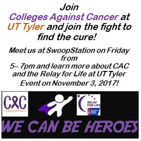 Join @CacutTyler and join the fight to find the cure! See you at #swoopstation on Friday 5-7pm. #CACUTTYLER #WeCanBeHeros @UTTyler<br>http://pic.twitter.com/gIM9B3DAA8