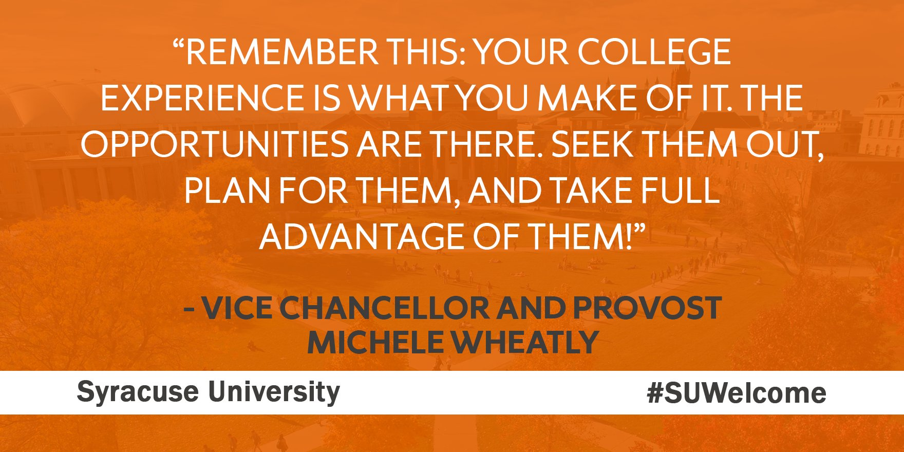 Vice Chancellor and Provost Michele Wheatly welcomes new students to #SyracuseU. #SUWelcome https://t.co/t7YxsMIKe3