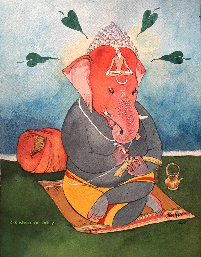 Jaya Ganapathy #watercolour #vinayakachaturthi #krishnafortoday https://t.co/HtwExhwW7F