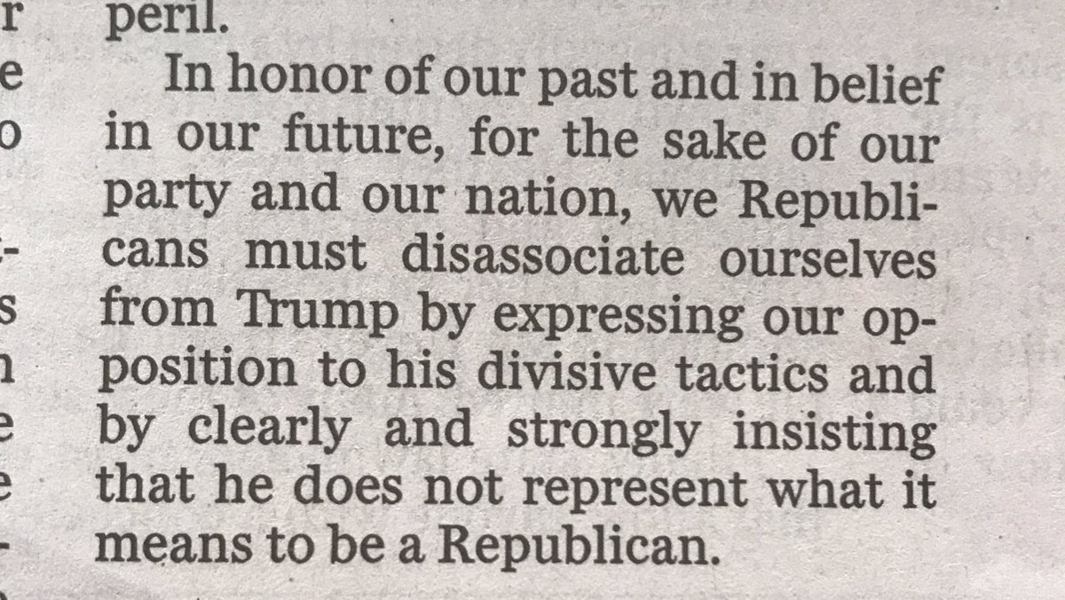 """""""Trump is no Republican,"""" writes John Danforth, in an extraordinary @washingtonpost op-ed that concludes thusly: https://t.co/qHyuzHK0MR"""
