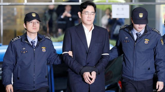 Court sentenced billionaire head of South Korea's Samsung, Jay Lee, to 5 years in prison for bribery, scandal brought down ex-president, Park Geun-hye
