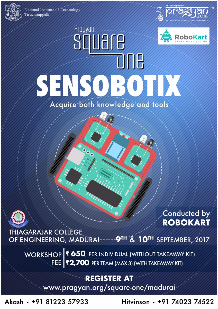 Build your own autonomous #robot with hands-on experience in the Sensobotix workshop at #SquareOne #Madurai on 9th &amp; 10th September #Pragyan <br>http://pic.twitter.com/uRTfGNpuZV