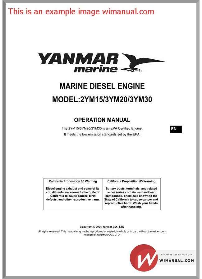 Yanmar operation Manual