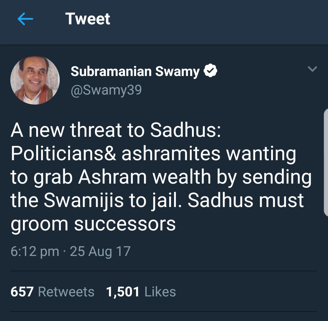 "I have a better idea, Dr Swamy. ""Sadhus must avoid raping women."" How's that? https://t.co/3joft1vi7W"