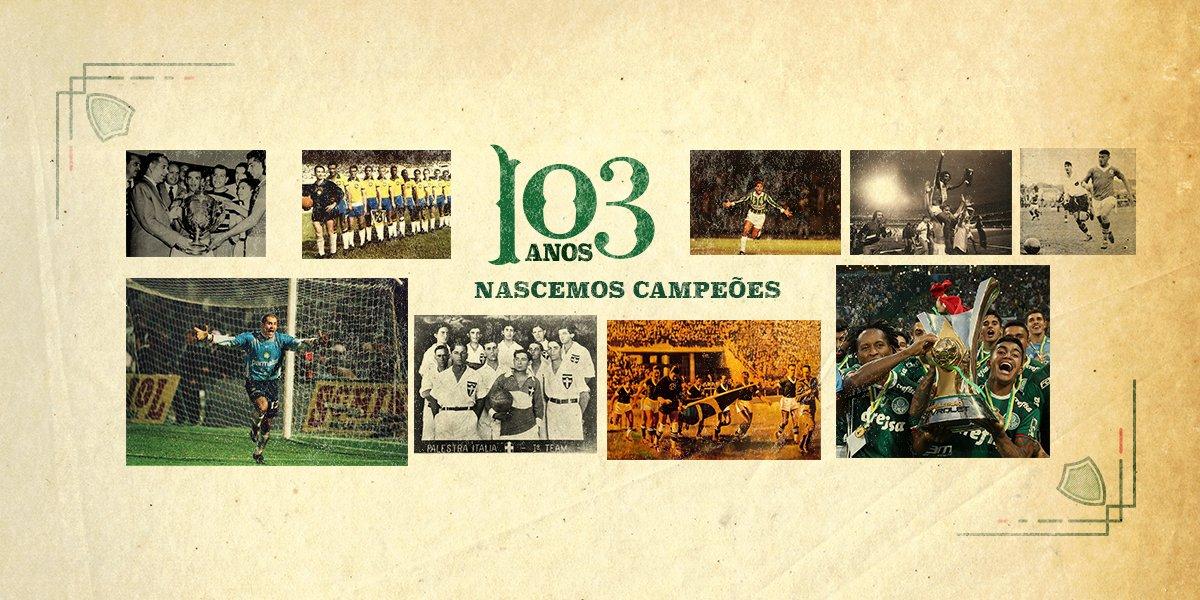 1 Mundial 1 Libertadores 1 Mercosul 9 Brasileiros 3 Copas do Brasil 1 Copa dos Campeões 5 Rio-São Paulo 22 Paulistas #Palmeiras103Anos