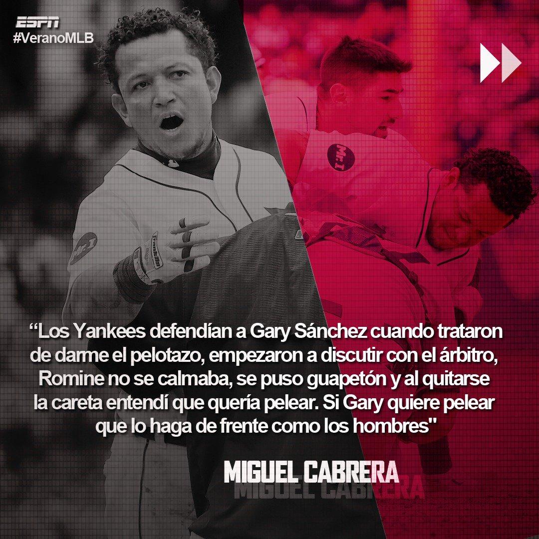 Miguel Cabrera habló sobre su pelea ayer con Austin Romine. Parece que esto va para largo... #VeranoMLB ⚾