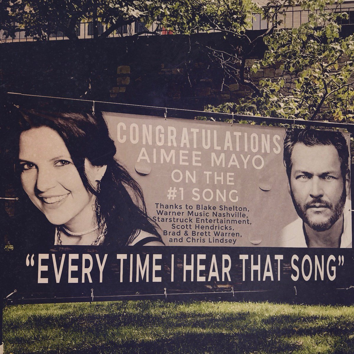 I just drove by my #1 banner on Music Row... thank you #warnerchappell You guys ROCK! https://t.co/vLzTxrrBjQ