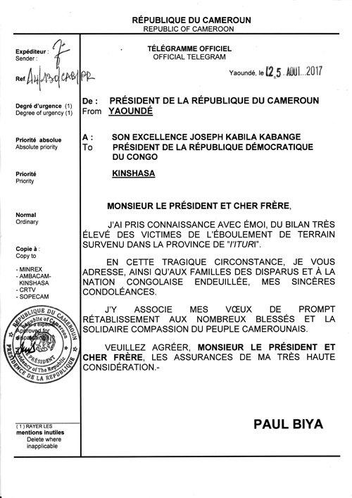 Condoléances à S.E. Joseph KABILA KABANGE suite à l'éboulement en #RDC: https://t.co/ZomYOHrwTo #PaulBiya #Cameroun
