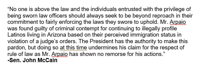 "NEW @SenJohnMcCain: Trump's pardon of Joe Arpaio ""undermines his claim for the respect of rule of law."" #12News https://t.co/zCQJpG3hTV"
