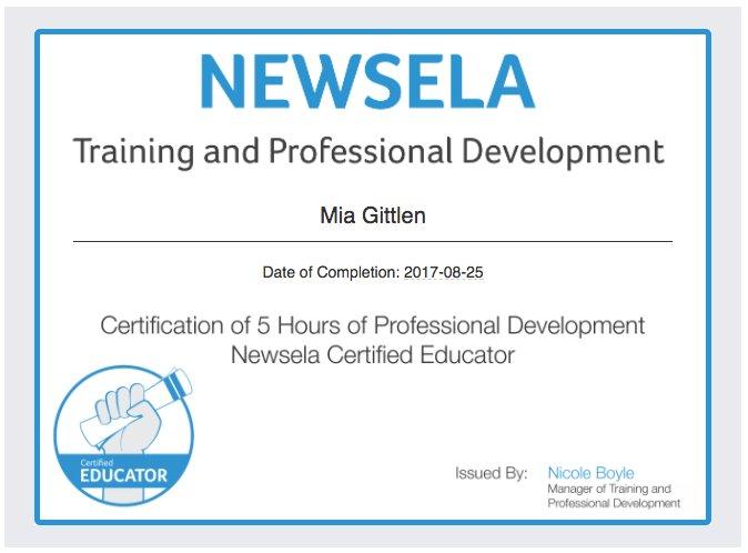 Mia Gittlen On Twitter Im Officially A Newsela Certified