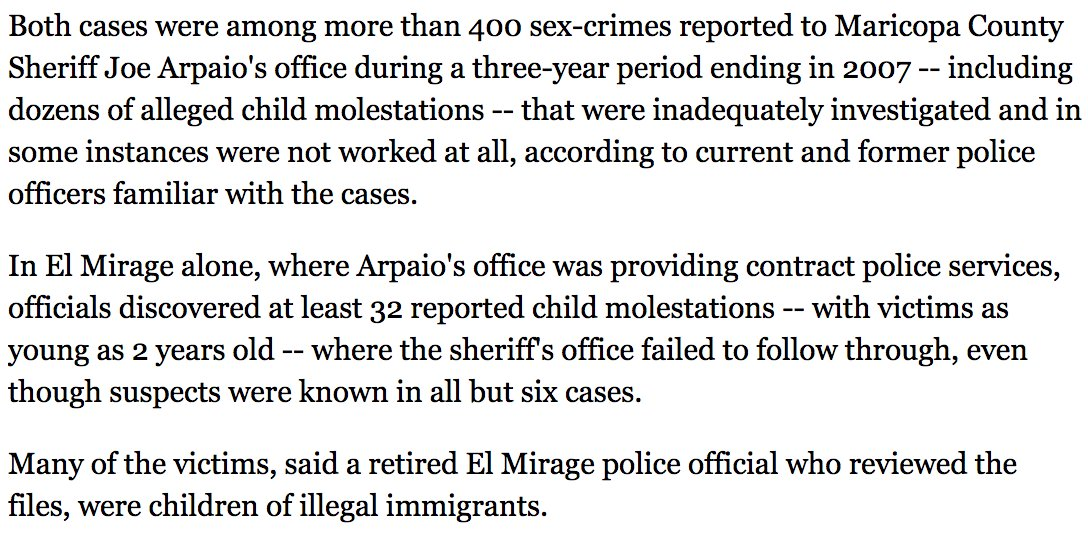 If you're not disgusted enough: read this on how Arpaio's office botched 400 sex-crime cases, many involving kids  https://t.co/w03j8ab6XF
