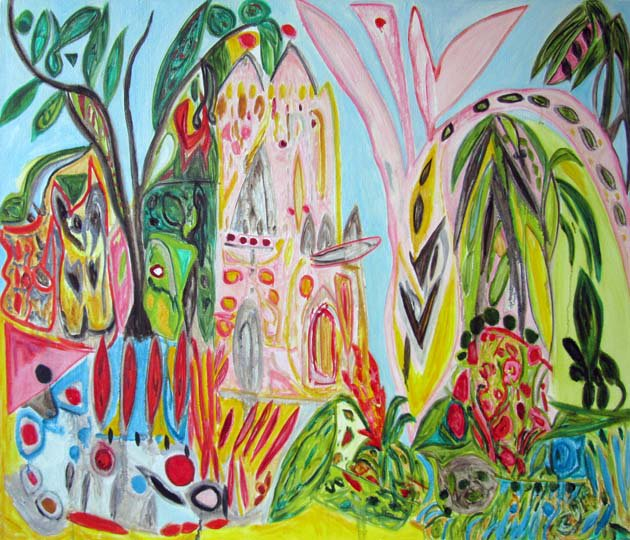 &quot;Let Them Eat Cake&quot;, 30x35&quot;, OC, Cheryl Sylivant. Studio work from original painted in Buenos Aires. #openenergyart #neuralart #thepinkhouse <br>http://pic.twitter.com/evhZiU5SGP