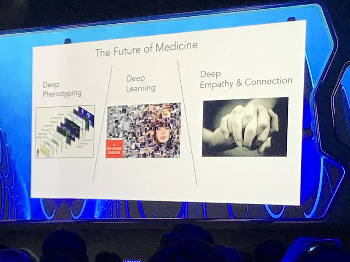 """Dr. @EricTopol finishes his keynote at #ESCCONGRESS2017 with the 3 """"Deep"""" facets to the future of medicine. Bravo! https://t.co/c0iaWrrfGj"""