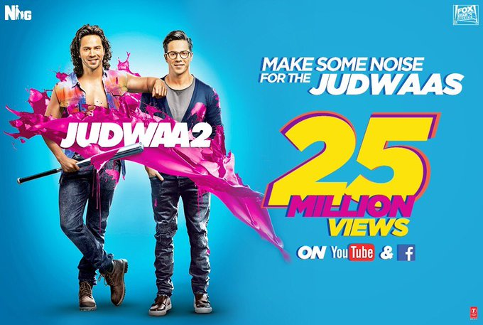 #Judwaa2 trailer hits 25 million views ⚡️⚡️⚡️⚡️⚡️https://t.co/TgW4Bx424o. Sept 29 th Humari release hain. See u in the theatre https://t.co/3k9XNBepys