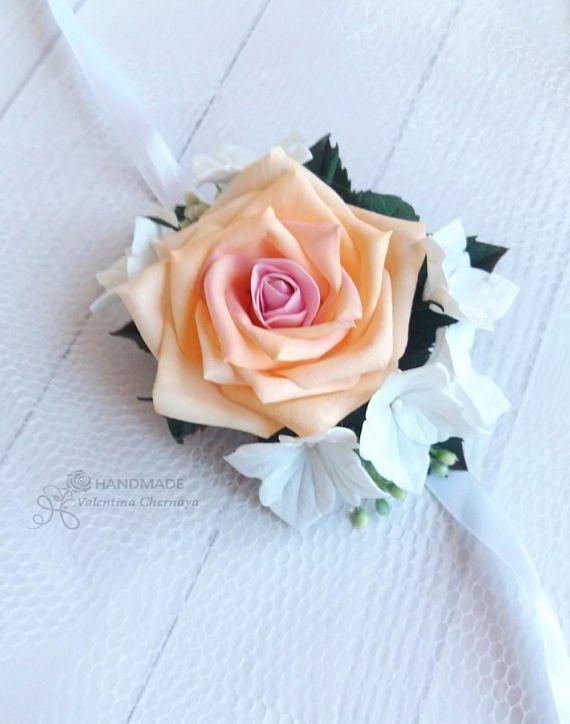 Weddingflower hashtag on twitter wedding flower wrist corsage httpsetsylisting535624902wedding flower wrist corsage peach creamrefshophomeactive24 junglespirit Images