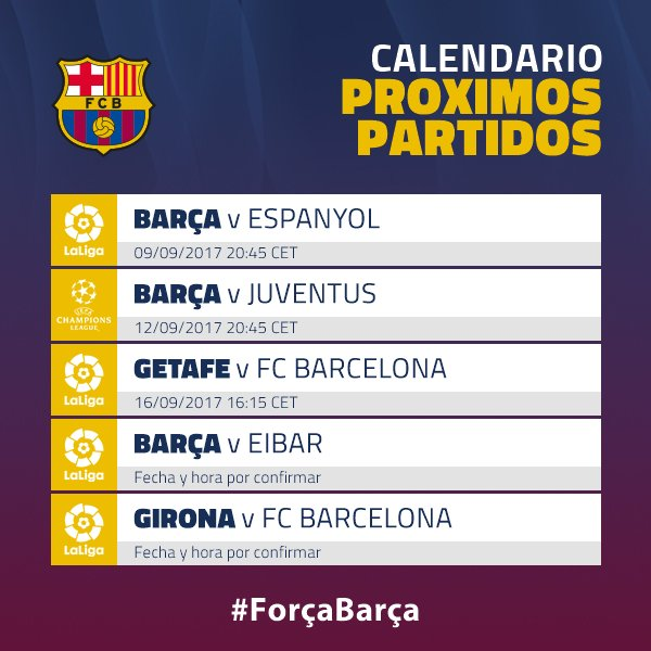 Calendario Del Barcelona.Fc Barcelona Twitter પર Los Proximos Partidos Del Barca