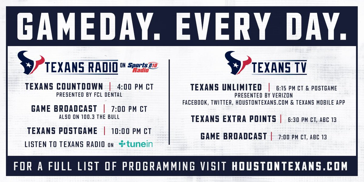 Houston Texans On Twitter Radio Tv Https T Co