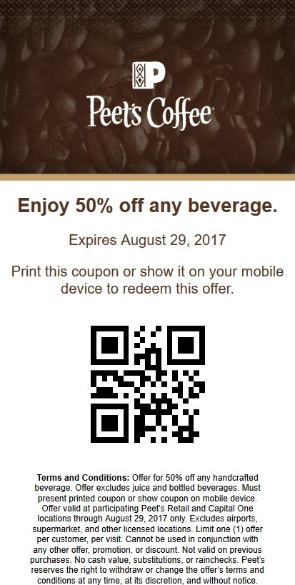 graphic about Peet Coffee Printable Coupon titled peetscoffeetea hashtag upon Twitter