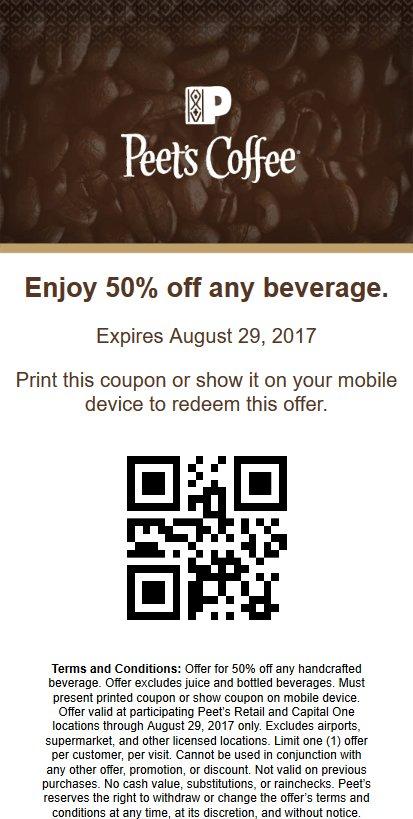 photo regarding Peet Coffee Printable Coupon named peetscoffeetea hashtag upon Twitter