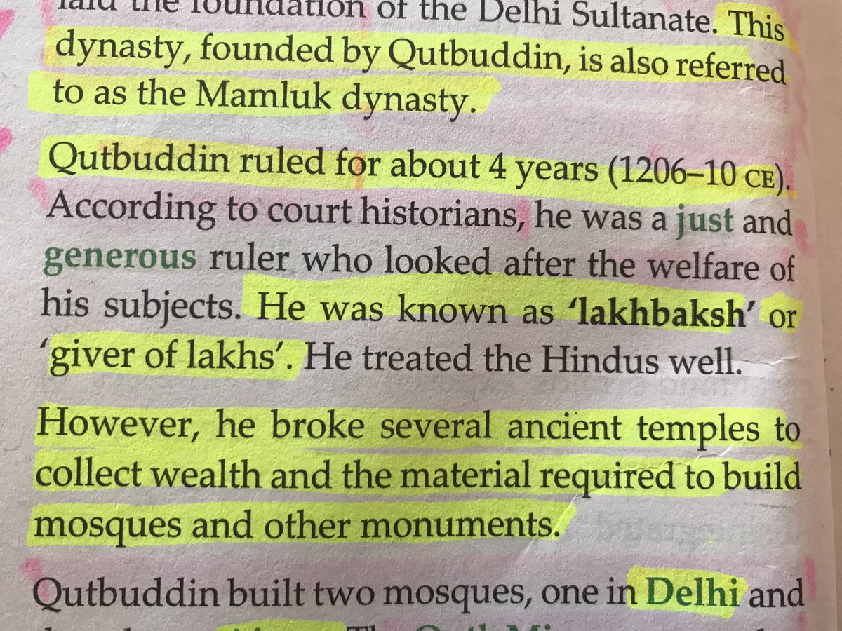 Doing history with the daughter..contradictory statements taught. 'Treated Hindus well,however broke/looted Hindu temples to build mosques'