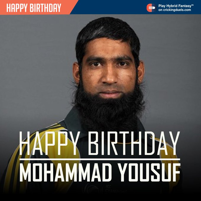 Happy Birthday, Mohammad Yousuf . The Pakistani cricketer turns 43 today.