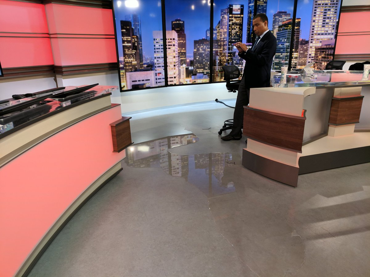 Water coming into studio at #KHOU11... We are moving upstairs.
