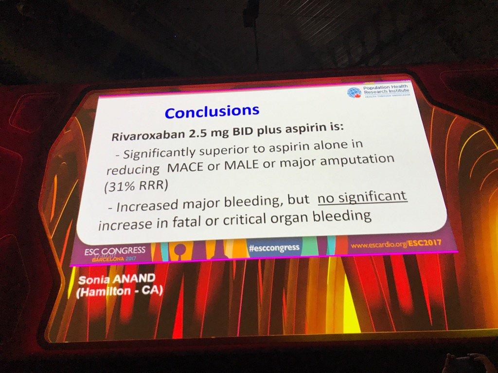 COMPASS Trial results just presented @escardio  Barcelona. Landmark trial with am Impact in CAD and PAD Management.