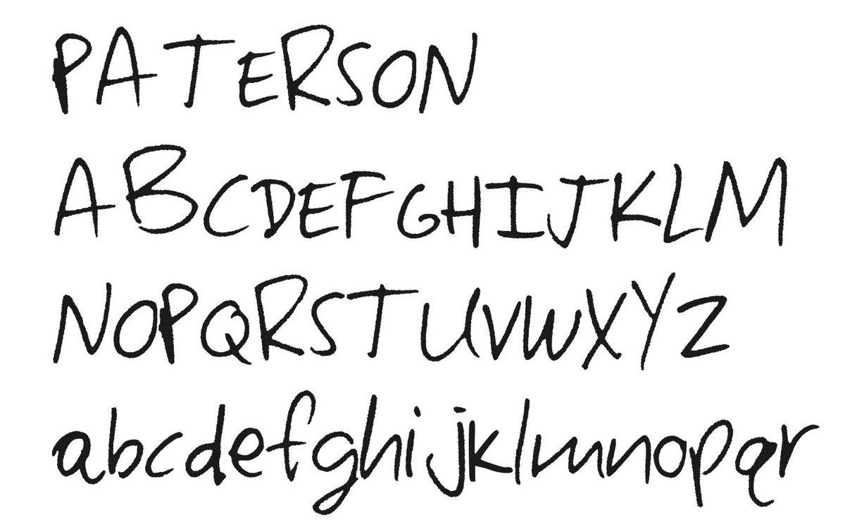 『パターソン』劇中の詩の字幕はオリジナルの書体として存在するのですが、Adam Rough Regularという書体名が付けられていたので、たぶんアダム・ドライバー本人の筆跡から書体化されたものではないかと。 https://t.co/1B3B1Nc9Rc