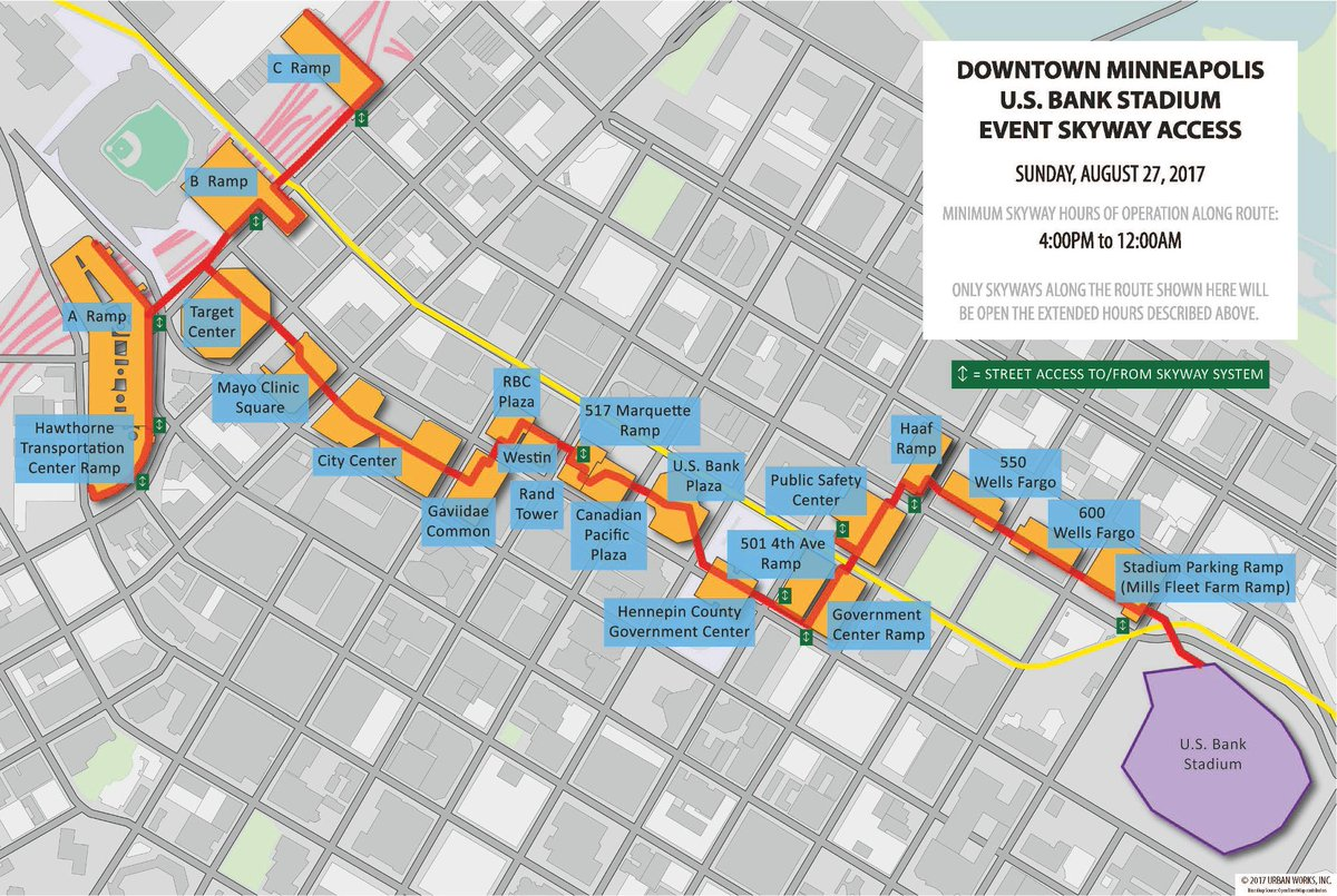 Downtown Minneapolis Skyway Map on